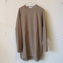 L/S crew neck Long T-Shirt (Dark Beige)