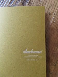ということで、「Jackman F&W 2017」のカタログも届いてますよ!。(ご興味がございましたらこちらも是非。)
