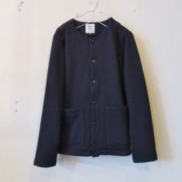 Sweat Collarless Jacket (Navy)