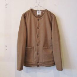 Sweat Collarless Jacket (Light Brown)