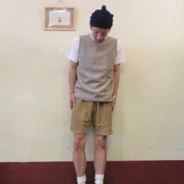 モデル:え!季節逆もどり!?(Tシャツ+ショーツ・・。)の、店主 172cm,57kg/着用サイズ:M