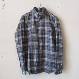 ボタンダウンシャツ(グレー x ブルー)