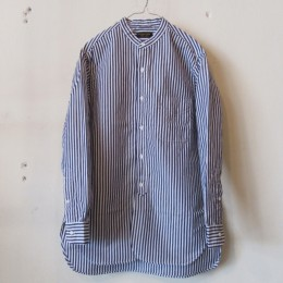 Banded Collar Shirt (NAVY STRIPE)