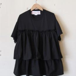 リメイクフリルTシャツ (BLACK)