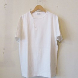 S/S Henley neck T-Shirt (White)