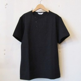 S/S Henley neck T-Shirt (Black)