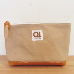 MAIL pouch (sand x camel leather)