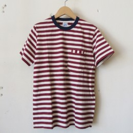 W-Pocket Border S/S Tシャツ ( Bordeaux)