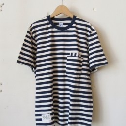 W-Pocket Border S/S Tシャツ (Navy)