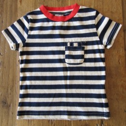 W-Pocket Border Tシャツ (Navy)