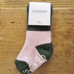 PILE MIDDLE SOX (NAVY x PINK)