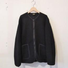 Wool Pile Zip Cardigan (BLACK)