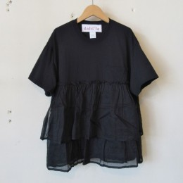 リメイクフリルポケットTシャツ (BLACK)