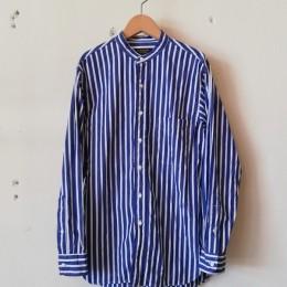 Banded Collar Shirt (NAVY STRIPE)