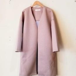 ノーカラーロングジャケット (beige x ice gray)