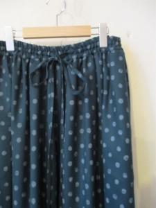 Layered Gathers Dot Skirt(Green Dot)