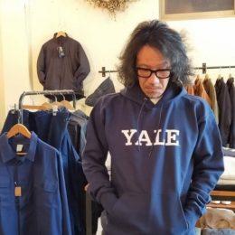 モデル:ヤーレ大学?(31回生気分??)の、店主 172cm,57kg/着用サイズ:S (YALE着用)